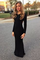 Online Shop Enchanting o-neck black long sleeves evening gown low back slim sexy women simple evening dress prom night gowns abendkleider|Aliexpress Mobile