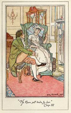 """He then sat down by her."" Chap. XI ~H.M. Brock, Pride and Prejudice"