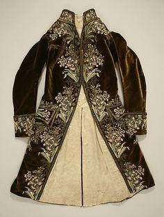 Gentlemen's Brown Velvet Court Coat, French, 1750-1775. (Front View)