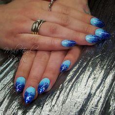 i27 i29 and i79 #i.n.k_london ombré fade gel polish with chunky and fine glitter over acrylic enhancements #glitternails #nailart