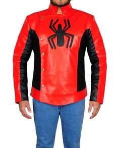 Spider Man Last Stand Leather Jacket (5) Hero Spiderman, Last Stand, Motorcycle Jacket, Black Leather, Celebs, Men's Jackets, Leather Jackets, Sleeves, Craft