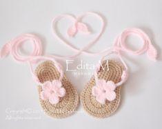 Crochet baby sandals, baby slippers, flip flops, gladiator sandals, baby girl booties, shoes, slippers, flower sandals, pink, tan, gift idea