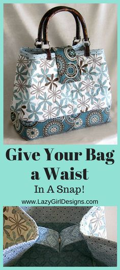 Easy tote bag pattern tutorial to add a magnetic snap closure and cinch the top of the bag for an instant 'waist' and a sleek look. #EasyBagTutorial #LazyGirlDesigns #BagPattern #MagneticClosure #ToteBagPattern
