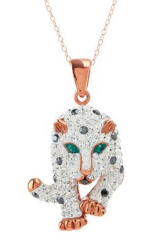 14K Rose Gold Plated Crystal Leopard Necklace by Candela on @HauteLook