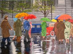 April Flowers (Painting),  30x40 in by Cecil Williams Oil on canvas.  People in the 1920's in the rain with umbrellas up heading for cover.  Spring shower.
