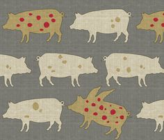 When Pigs Fly Tweed with Red Dots fabric by littlerhodydesign on Spoonflower - custom fabric