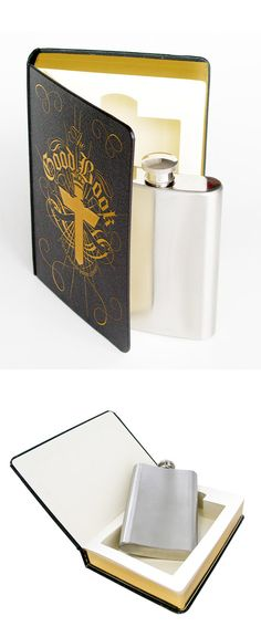Flask in a book....hahahahaha! How did I not think of this? Oh yeah, catholic families don't hide it! Bahahahaha! So doing this from now on!
