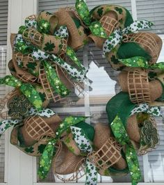 """SLAINTE"" -  XL Chic St. Patrick's Day Burlap Wreath Decoration by DecorClassicFlorals, $119.95"