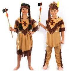 Children Boy Girl Native American Indian Princess Dress Cosplay Costume Soldiers Warrior Clothing Halloween Party Dress Supplies