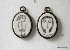 Custom Couple Portrait,HE and SHE,Personalized Portrait,Hand Embroidered Oval…