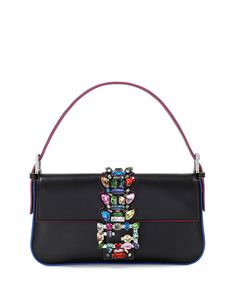 7cfef505eb9 Fendi Baguette Medium Calfskin Bag w/Crystal Strap, Black Multi