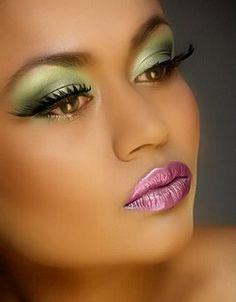 light green shimmer eyeshadow with a pink ice lipstick gloss...beauty