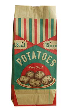 An endless collection of food related design and packaging inspiration Vintage Packaging, Vintage Labels, Food Packaging, Packaging Design, Vintage Type, Vintage Food, Vegetable Packaging, Potato Bag, Vintage Recipes