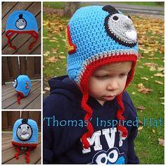 Thomas the Train inspired crochet hat pattern by Sheri Wentzell $4.75 on Ravelry at http://www.ravelry.com/patterns/library/thomas-the-train-inspired-crochet-hat-pattern
