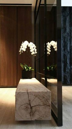 modern hall design with wood slab console