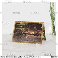 Merry Christmas Snowy Market Scene Holiday Card