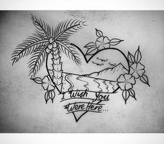 Palm tree, beach, tattoo
