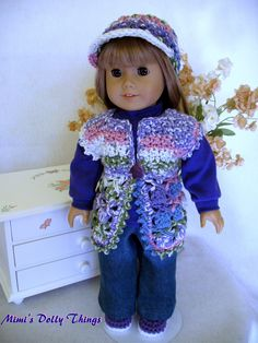 18 in doll clothes for American girl and similar 18 in Dolls, Crocheted and hand crafted Sweater vest in pastel rainbow.. $25.00, via Etsy.