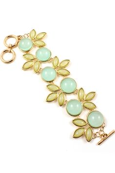 "Madeline Bracelet Gorgeous Soft Sage Marquise and Round Minty polished Cabochons set against Gold. Bracelet Size: 8"" long: Toggle clasp Hypo Allergenic / Gold Plated Cabochon Statement Bracelet 48.00 USD"