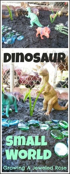 Dinosaur small world play- my dad did this with me. we would also collect plants together to plant in my small world <3