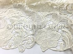 English Lace in Ivory  Lace Fabric with Floral by UrquidLinen