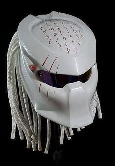 Base Helmet : NHK (DOT approved, SNI approved) Material : Fiberglass, Electrical Wires, Battery, Color Leds Feature : Light Up Led Lights This is a profesionally crafted handmade custom helmet Main color : White (you can pick your own color) Secondary col Custom Motorcycle Helmets, Custom Helmets, Motorcycle Gear, Custom Bikes, Custom Cars, Biker Helmets, Predator Helmet, Predator Tattoo, Predator Movie
