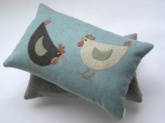CLUCK'N PECKER PILLOW Tweed and tartan Cushion with two by Mogwaii, $70.00