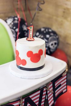 Maria B's Birthday / Pirate Mickey - Photo Gallery at Catch My Party Boys 1st Birthday Party Ideas, Mickey Birthday, First Birthday Cakes, 1st Boy Birthday, Birthday Party Decorations, Fiesta Mickey Mouse, Mickey Mouse Cake, Mickey Mouse Parties, Mickey Party