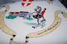 1955 vintage linen cotton tablecloth from Vienna with historic buildings and places - Spanish riding school