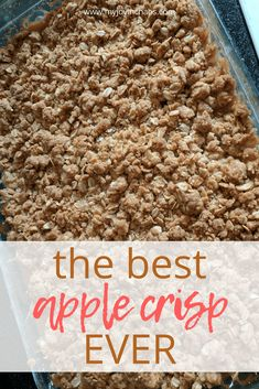 The Best Apple Crisp Ever Apple crisp is an apple lover's dream and the perfect fall dessert. Learn how to make the best apple crisp ever with simple pantry ingredients. - The Best Apple Crisp Ever {Recipe} Best Apple Crisp Ever, Best Apple Crisp Recipe, Apple Crisp Easy, Apple Crisp Recipes, Apple Crisp Healthy, Apple Crisp Without Oats, Apple Crisp Topping, Best Apple Recipes, Apple Crisp Recipe With Canned Apples