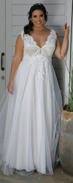Plus size romantic tulle and lace wedding gown. Tracie. Studio Levana