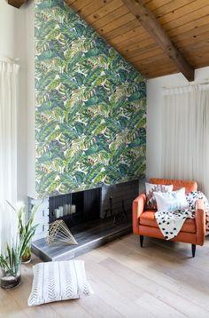 botanical leaf print wallpaper