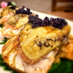 Salmon Uni Ohba Aburi   Torched Salmon & Uni with Japanese Mint leaves   #ChowBuzz #iPhoneEats1st #InterAksyonTV5 #Marufuku #Japanese #Restaurant #Ortigas #Pasig #igersmanila #good #foodie #foodspotting #love #instagood #instafood #igers #feedfeed #yummy #delicious #uni #salmon #aburi #japanesefood #lunch #foodporn #foodgasm #foodpics #chowhoundstrikesback by cyrenedelarosa