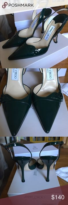 😍Jimmy Choo heels Euro 37 Price FIRM . Patent leather green slingbacks . Gorgeous preowned condition . Fit small (are narrow and best for narrow feet ) more like a US size 6. Comes with dustbag . Due to posh fees PRICE is FIRM ! Jimmy Choo Shoes Heels
