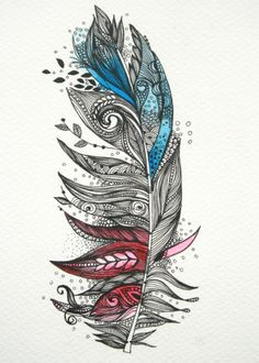 Garden Feather-Original Artwork 5x7 Ink and Water Colours. $25.00, via Etsy.