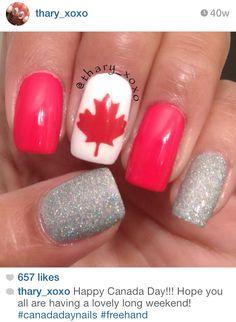 Canada day nails Gell Nails, Shellac Nails, Nail Manicure, Nail Polish, Painted Acrylic Nails, Hair And Nails, My Nails, Holiday Nails, Acrylic Nail Designs
