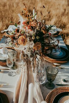 Fall wedding tablescape with dark orange roses and yellow flowers with a woodsy twist that is so beautiful this time of year! Pampas grass in centerpieces add everything we love about the chilly weather: warm fuzzies! Orange Wedding Colors, Fall Wedding Colors, Autumn Wedding, Boho Wedding, Wedding Table, Floral Wedding, Wedding Flowers, Dream Wedding, Autumn Bride