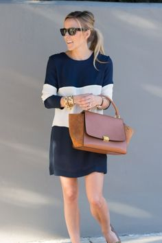 color block striped dress and bag