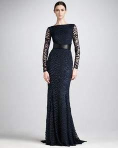 THIS DRESS IS FABULOUS!!!!!Swirly-Lace Fitted Gown & Leather Belt by Monique Lhuillier at Neiman Marcus.