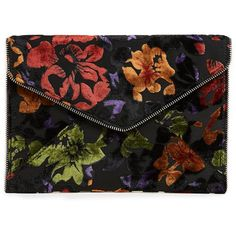 Rebecca Minkoff Velvet Leo Clutch ($48) ❤ liked on Polyvore featuring bags, handbags, clutches, floral, rebecca minkoff clutches, rebecca minkoff purse, floral clutches, flower print purse and floral handbags Print And Floral, dress, clothe, women's fashion, outfit inspiration, pretty clothes, shoes, bags and accessories
