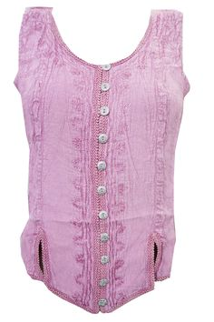 Women's Blouse Pink Embroidered Stonewashed Rayon Tank Top