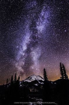 The Milky Way and Mt. Rainier seen near Tipsoo Lake on HWY 410, Chinook Pass, Washington