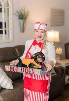 Hot Dog Vendor Halloween Costume • Dachshund Halloween Costume • Matching Owner Pet Halloween Costume • Miniature Dachshund Dachshund Halloween Costumes, Dachshund Costume, Halloween Puppy, Matching Halloween Costumes, Dog And Owner Costumes, Dog Costumes, Costume Ideas, Hotdog Costume, Puppy Costume