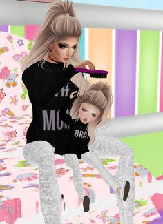 Fixing my brats hair | On IMVU you can customize 3D avatars and chat rooms using millions of products available in the virtual shop and meet people from around the world. Capture the fun you are having and share it with others via the Photo Stream.