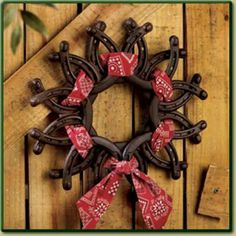 New Horseshoe Wreath with Bandanna Western Cowboy Rustic Home Decor ** Horseshoe Projects, Horseshoe Crafts, Horseshoe Art, Horseshoe Ideas, Lucky Horseshoe, Western Decor, Country Decor, Western Crafts, Western Theme