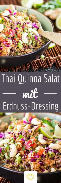 Healthy Food Inspiration: Delicious and quick Thai-Quinoa-Salat mit Erdnuss-Ingwer-Dressing. Veggie Recipes, Asian Recipes, Vegetarian Recipes, Healthy Recipes, Dinner Recipes, Clean Eating, Healthy Eating, Vinaigrette, Soul Food