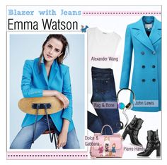 """""""GET THE LOOK - Emma Watson"""" by alves-nogueira ❤ liked on Polyvore featuring T By Alexander Wang, rag & bone, Pure Collection, Pierre Hardy, Frends and Dolce&Gabbana"""