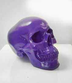 Purple Skull - Haus of Skulls Skull Decor, Skull Art, Airbrush Skull, Coca Cola Bear, Plaster Of Paris, Acrylic Spray Paint, Black Skulls, Shop My, Etsy Shop