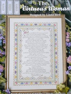 Linda Bird The VIRTUOUS WOMAN Sampler & Bookmarks By The Design Connection - Counted Cross Stitch Pattern Chart