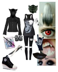"""""""creepypasta oc nyx's second outfit"""" by phoebecoffs-1 on Polyvore featuring art"""